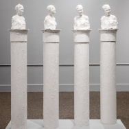 Clara Endicott Sears in quadruplicate, a re-creation of her sculpture colonnade at the now-lost summer mansion.